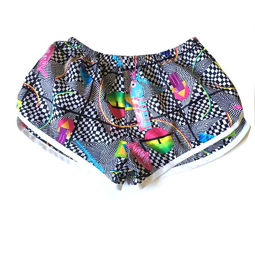Monochrome Abstract Print Sports Shorts