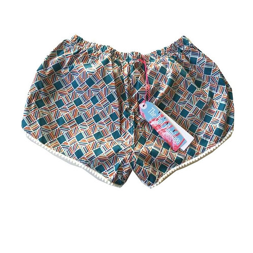 s8-10 Blue and Orange Aztec Check Print Pom Pom Trim Shorts