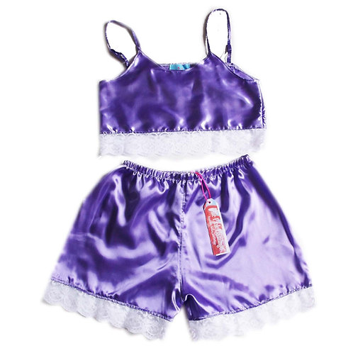 Lilac Satin Lace Trim Camisole and Shorts Set