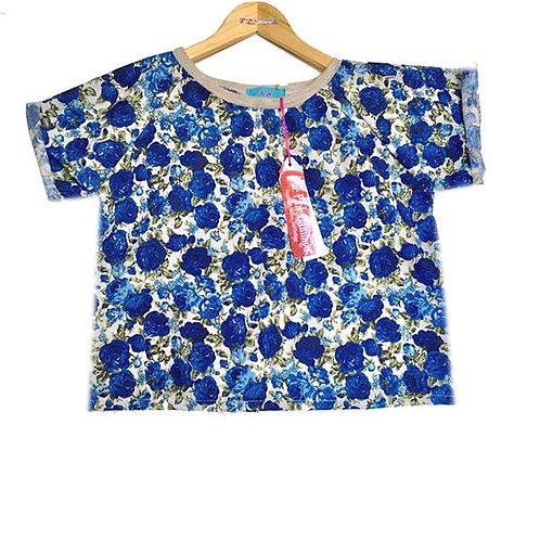 Blue Rose Print Floral Raglan Sleeve Tee