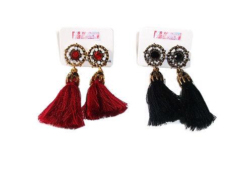 Jewel Embellished Tassel Drop Earrings