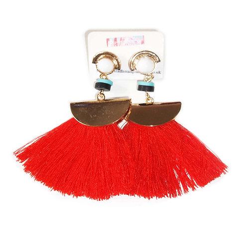 Bright Red Tassel Fan Earrings
