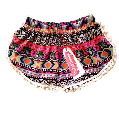 Children's Pretty Aztec Print Pom Pom Shorts