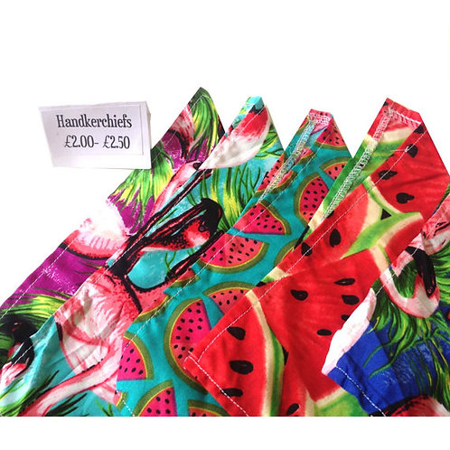 Mixed Retro Print Fabric Handkerchiefs