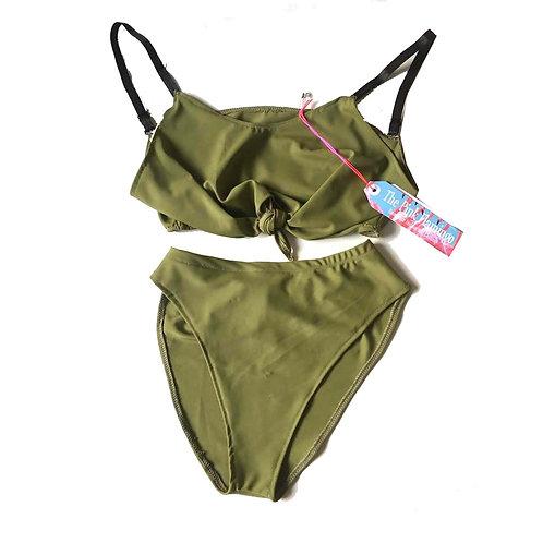 Khaki Lycra Tie Front Bikini Set