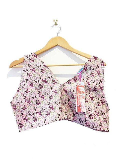 Lilac Floral V neck Boxy Crop Top