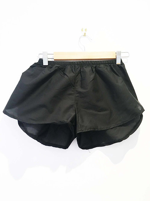 Black Cotton Plain Sports Shorts
