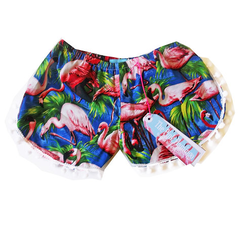 Children's Blue Flamingo Pom Pom Shorts