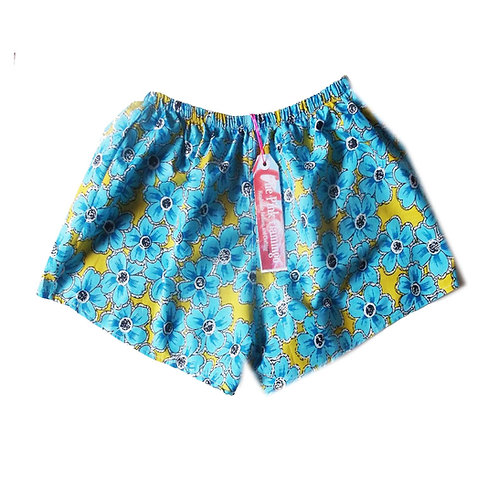 Turquoise and Yellow Floral Print Shorts with Braid Hem