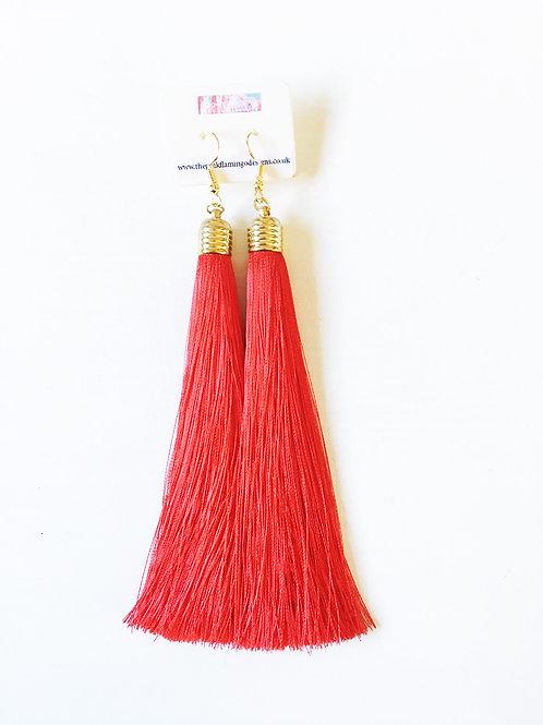 Long Tassel Drop Earrings - Red