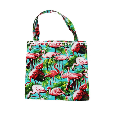 Retro Flamingo or Watermelon Print Tote Bag