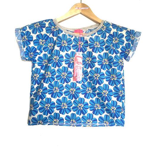 Sky Blue Retro Floral Print Raglan Sleeve tee