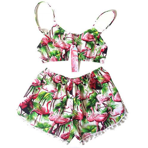White Retro Flamingo Print Bralet and Pom Pom Shorts set