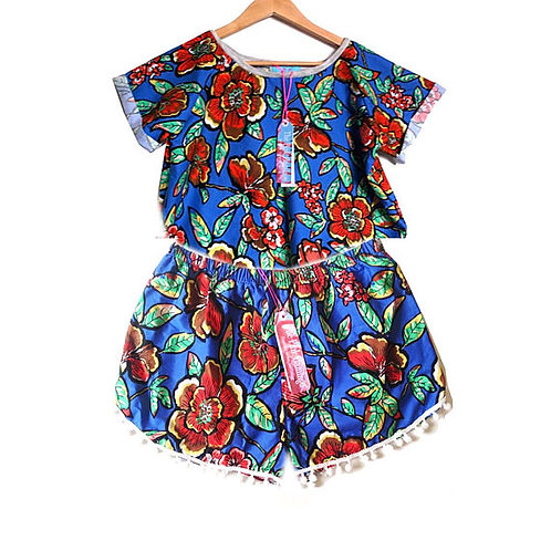 Blue African Floral Print Tee and Pom Pom Shorts Set