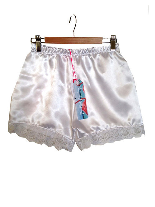 White Satin Shorts with Floral Lace Trim