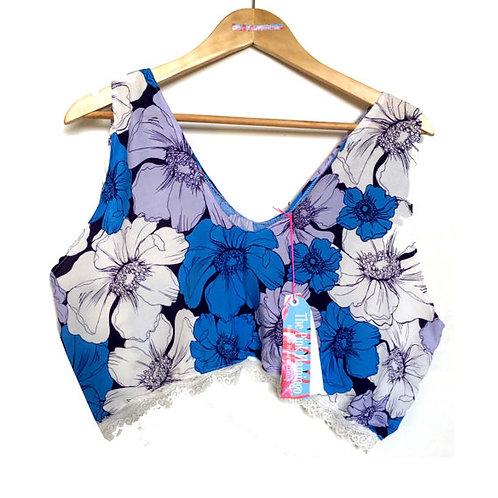 Blue Floral Sketch Print Lace Trim Blouse