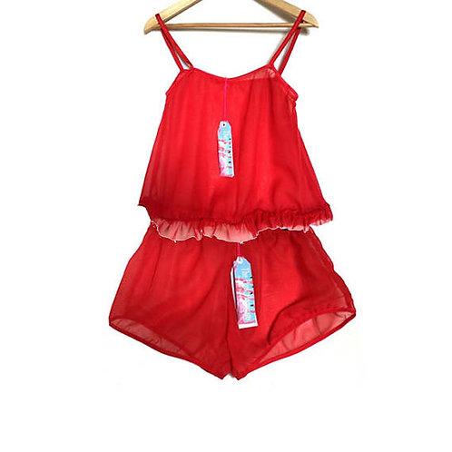 Red Chiffon Frill Camisole and Shorts Set