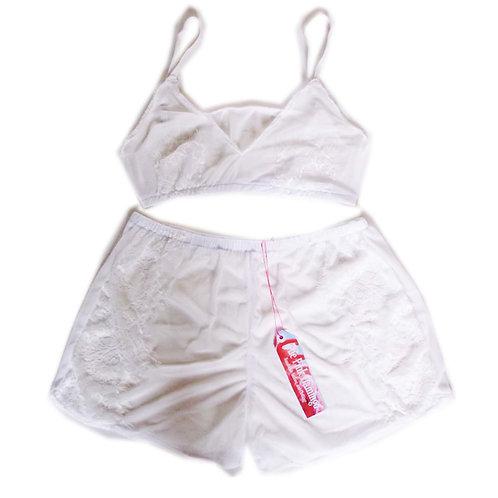 White Mesh and Eyelash Applique Trim Bralet and Shorts Set