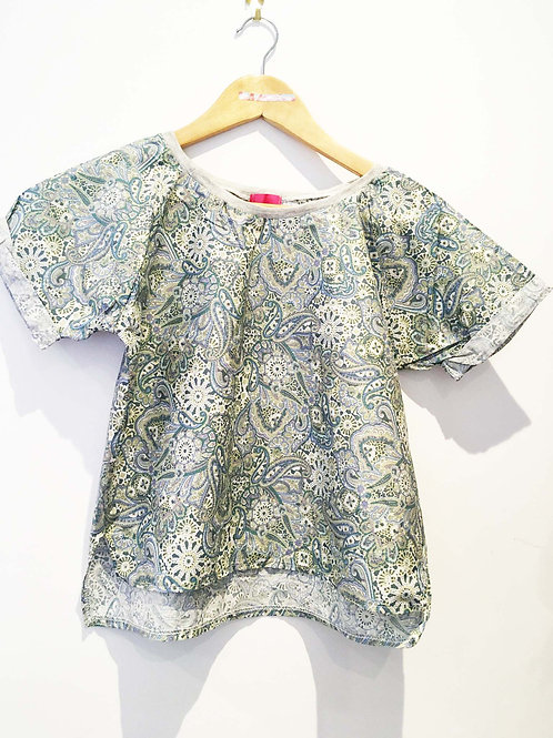 Green Paisley Print Floral Boxy Fit Tee