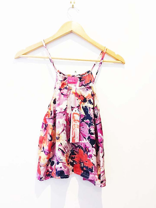s8 - 10 Yellow and Pink Floral Satin Halter Top