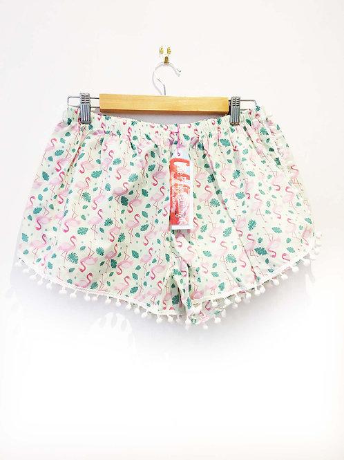 Pale Green Flamingo Print Pom Pom Shorts