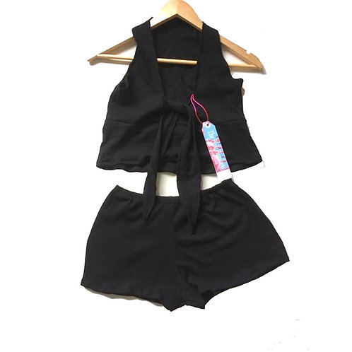 Black Ribbed Stretch Jersey Tie Knot Top and Shorts Set