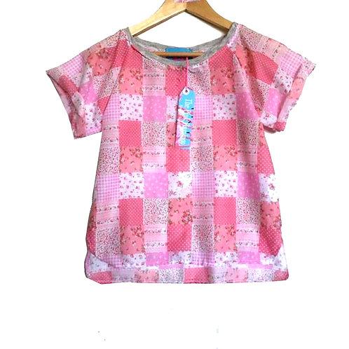 Pink Gingham Floral Print Raglan Sleeve Tee