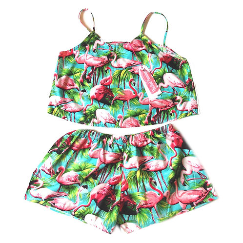 Green Retro Flamingo Print Swing Cami and Shorts Set
