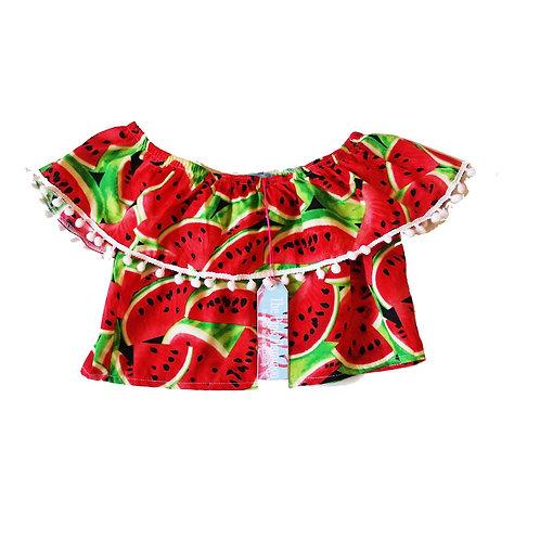 "Girl's Retro Watermelon Print ""Off The Shoulder"" Frill Top"