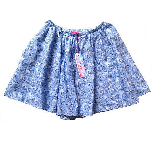 Blue Elephant Sketch Swing Skirt