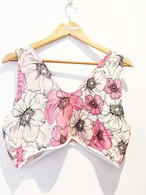 S 10 - 12 Pink and White Floral Sketch Viscose Camisole