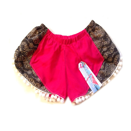 Hot Pink and Lace Panel Pom Pom Shorts