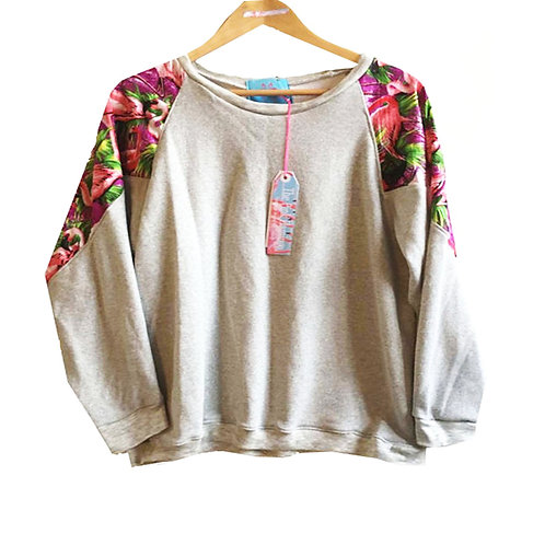 Purple Retro Flamingo Print Raglan Sleeve Slouchy Sweater