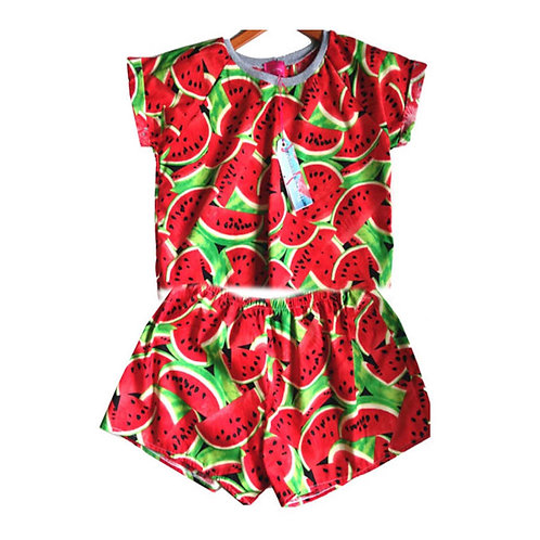 Retro Watermelon Print Tee and Basic Shorts Set