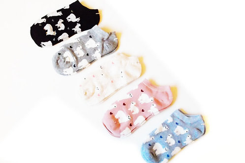 Cute Alpaca Cotton Trainer Socks