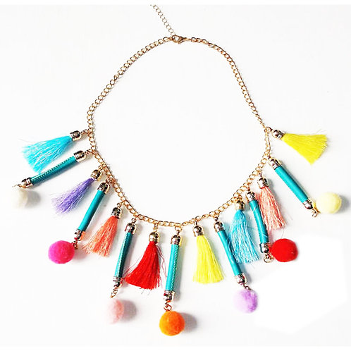 Tribal Statement Pom Pom and Tassel Charm Necklace