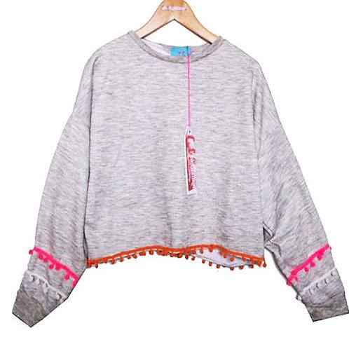 Grey Marl Slouchy Sweater with Pom Pom Sleeves