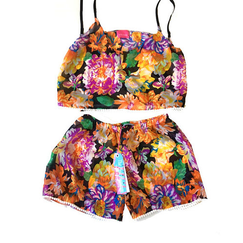 Autumn Floral Print Chiffon Camisole and Shorts Set