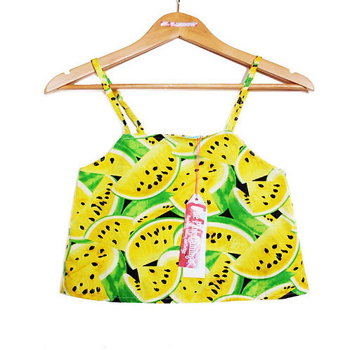 Yellow Retro Watermelon Print Swing Camisole