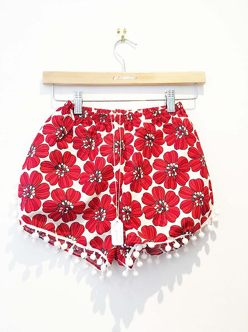 Red Retro Floral Print Pom Pom Shorts