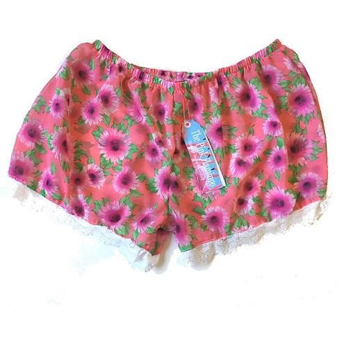 Pink Floral Print Chiffon Lace Trim Shorts