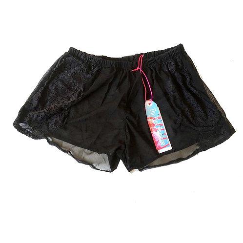 Black Mesh Shorts with Eyelash Applique Trim