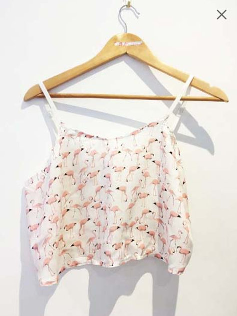 S12-14 Pink and White Flamingo Viscose Camisole