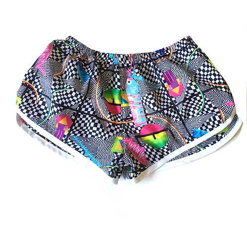 Monochrome Abstract Print Bound Sports Shorts