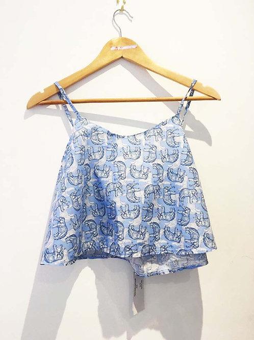 S14 - 16 Blue Elephant Print Slouchy Camisole