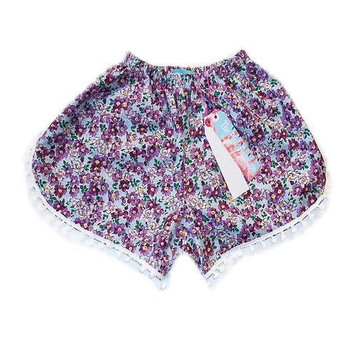 Lilac Ditsy Floral Print Pom Pom Shorts