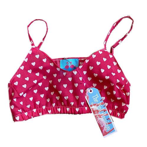 Hot Pink Love Heart Print Bralet
