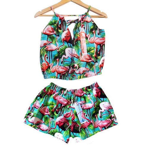 Retro Flamingo Print Keyhole Top and Shorts Set