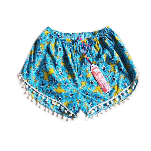 Yellow and Blue Floral Print Pom Pom Shorts