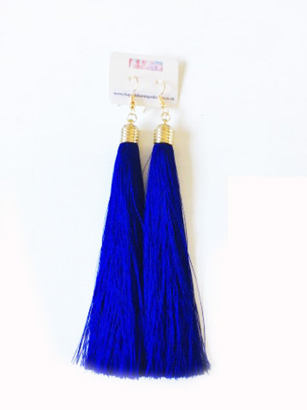 Long Tassel Drop Earrings - Royal Blue